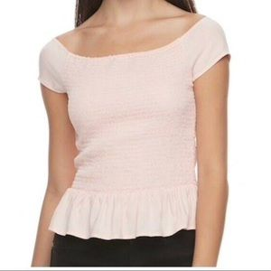 Candie's dusty pink smocked peplum top M, XL